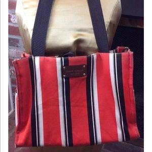 Multi-Color Striped Canvas Leather Tote Purse